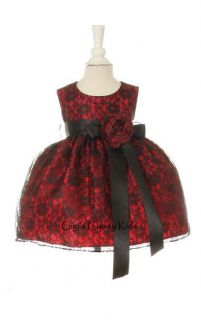 New Baby Girls Red Black Lace Fancy Dress Christmas Pageant Holidays 1132C