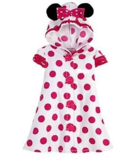 New Disney Polka Dot Minnie Mouse Toddler Girls Hooded Terry Swimsuit Cover Up