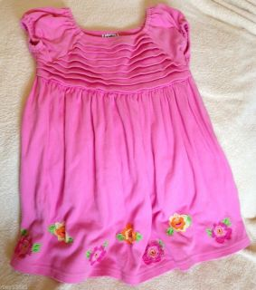 Cotton Kids Pink White Green Dress 4T Girls Floral Boutique Dress