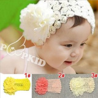 Cute Baby Girl Toddler Big Elastic Lace Bow Headband Hairband Hair Flower CA4044