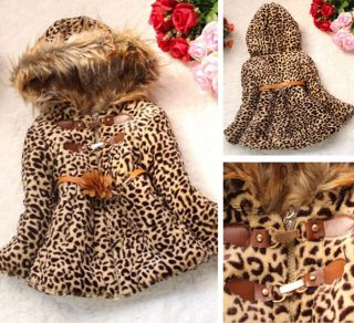 Baby Girls Cute Faux Fur Leopard Hoodies Coat Kids Winter Warm Jacket Snowsuit