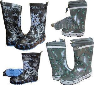 Kids Boys Black Street Skating Green Dinosaur Wellies Wellington Boots Size 4 2