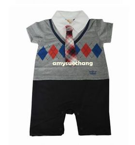 1pc Baby Boy Infant Kid Gentleman Romper Jumpsuit Top Outfit Clothes 12 18M Grey