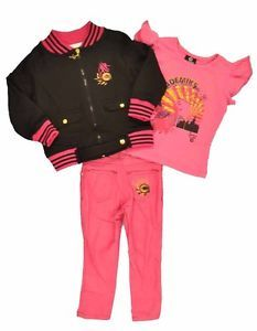 Akademiks Toddler Girls Black Fuchsia 3pc Pant Set Size 2T 4T $54