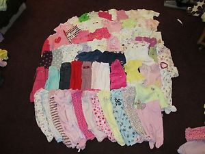 61 Piece 3 6 9 Month Baby Girl Clothes Lot Huge Large Polka Dot Flower Pink Mix