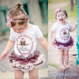 Baby Kids Girls One Piece Tutu Dress Cotton T Shirts Romper Outfits Clothes 2 3Y