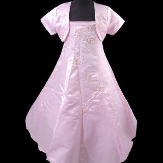 New Baby Girl Pink Party Flowers Summer Wedding Dress Jacket Handbag 4 15T