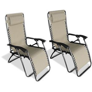 Indoor Outdoor Beige Steel Framed Zero Gravity Chairs Pack of Two