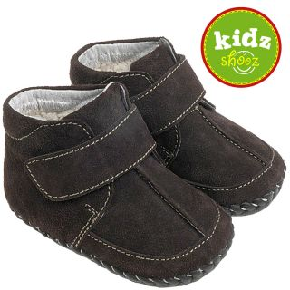 Boys Suede Leather Soft Sole Baby Shoes Boots Brown with A Warm Fleecy Lining