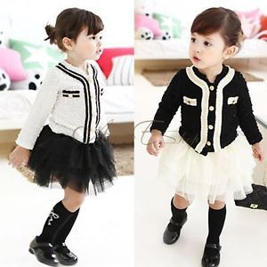 Girls Baby Top Coat Tutu Skirt Dress 2pcs Outfit Sz 2 6 Autumn Clothes Costume