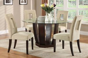 5 Piece Contemporary Round Espresso Glass Top Dining Table and Chair Set