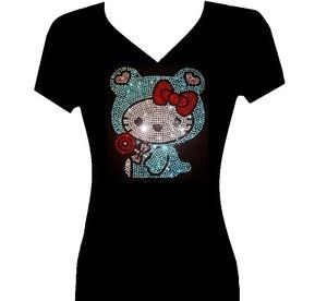Rhinestone Baby Hello Kitty V Neck T Shirt Blacks Plus Sizes 1XL 2XL 3XL Tops