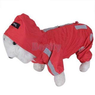 Red Pet Dog Puppy Hoodie Raincoat Hooded Rain Slicker Waterproof Apparel Clothes