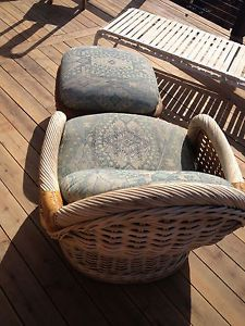 Vintage Rattan Couch 2 Chairs One Leg Rest Pin Cushion Style