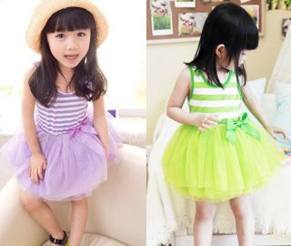 Toddlers Baby Girls Kids Colourful Sleeveless Clothes Baby Tutu Dress Skirt 2 8T