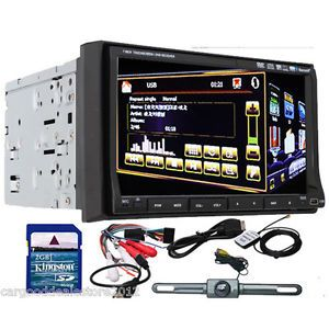 "Double 2 DIN 7"" Car Stereo DVD CD Player GPS Navi iPod Bluetooth Backup Camera"