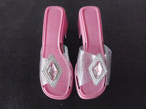 "Pink Jeweled Dress Up Halloween Costume Shoes 2"" Heel Pumps Princess Girl Child"