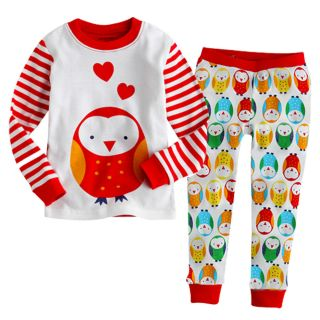 "Vaenait Baby Toddler Kid Boy Girl Long Sleeve Sleepwear Pajama Set ""Owl Red"""