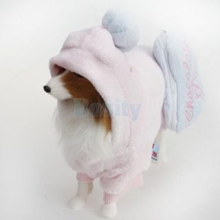 Pet Doggie Puppy Dog Fluffy Soft Hooded Coat w Zipped Backpack Clothes Winter S