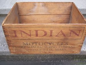 Vintage Antique Advertising Wood Crate Box Indian Scout Motorcycle Parts RARE