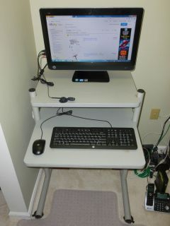 Sturdy Height Adjustable Mobile Computer Desk Printer Stand