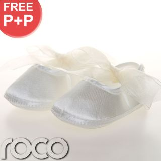 Baby Girls Ivory Shoes Christening Wedding Party Toddler Soft Sole Pram Shoes