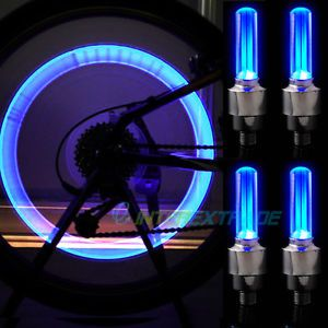 4XBICYCLE Motocycle Car Tire Wheel Flash Blue LED Light
