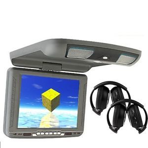 "10"" Gray Car DVD Player Flip Down Monitor Roof Mount FM USB IR Wireless Headsets"