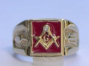 Masonic Mason Square Red Enamel Compasses Clear Austrian Crystal Men Ring Sz 11