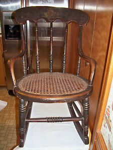 Antique 1800's Child's Rocking Chair with Cane Seating Painted Decoration