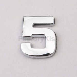 New Chrome Letter Alphabets 3D Car Badge Sticker Decal Emblem Number 5 57