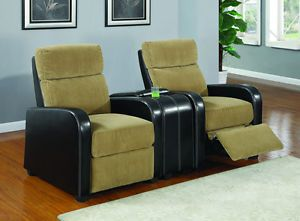 Movie Home Theater Seating Reclining Tan Corduroy 7 Chairs