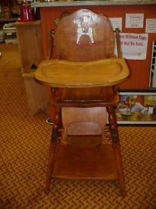 Vintage Wooden Baby Folding High Chair Desk Walker Potty Chair Stroller Decal VG