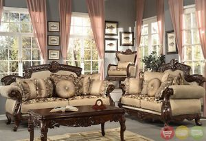 Formal Antique Style Luxury Sofa Loveseat Chair Tables 6 Piece Set HD 296