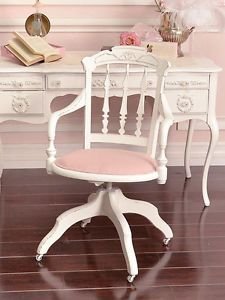 Shabby Cottage Chic White Pink Linen Office Swivel Chair French Vintage Style