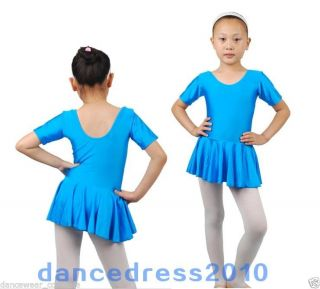 New Girls Kids Short Sleeve Dance Gymnastic Leotard Skirt Ballet Tutu Dress 3 8Y