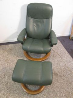 Ekornes Stressless Danish Modern Leather Recliner Chair and Ottoman Cool