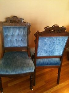 Charles Eastlake Antique Chairs Original Casters and Black Walnut Wood Finish