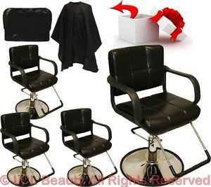 4 New Classic Hydraulic Barber Chairs Styling Hair Chair Beauty Salon Equipment