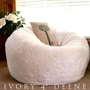 Large Round Faux Fur Pillow Lounger Bean Bag White Luxury Super Soft Chair New