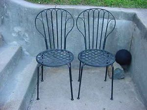 RARE Antique Victorian Art Deco Pair Wrought Iron Chairs