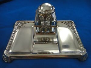 Antique Brass Desktop Pen Holder Crystal Inkwell Stand Rose Empire Design