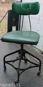 Vintage Toledo Metal Furniture Uhl Industrial Machine Age Drafting Stool Chair