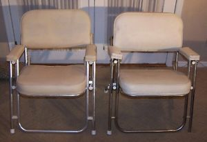 Pair 2 White Vinyl Folding Deck Chairs for Boats Pontoons Docks Folds 4STORAGE
