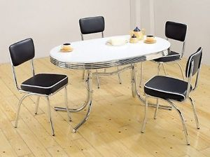 White Retro Style Kitchen Metal Chrome Round 50s Dinner Table 4 Blk Chairs Set
