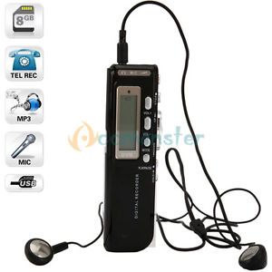 LCD Display 8GB USB Digital Activated Audio Voice Recorder Dictaphone  Player