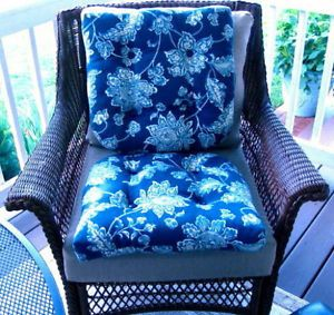 Wicker Indoor Outdoor Seat Chair Cushions Two Blue and White Damask Used