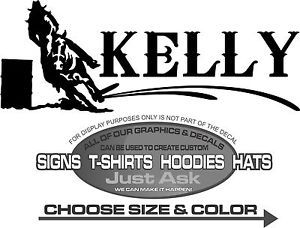 Kelly Barrel Racer Cowgirl Custom Decal 4 Laptop Truck Horse Trailer Window