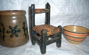 Folk Art Antique Miniature Chair Painted Green Primitive Paint Decorated