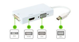 Mini DisplayPort Thunderbolt to DVI VGA HDMI Adapter CABLE3 in1 for MacBook iMac